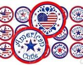 American Cutie -Patriotic -1 inch round- Digital Collage - 4x6 sheet