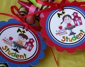 INSTANT DOWNLOAD - Printable -  School or  Student Theme   - Cupcake Toppers / Favor Tags