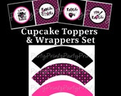 Printable Rock Star Cupcake Toppers & Wrappers Set - Girls Rock