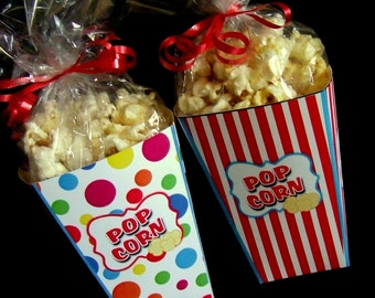 INSTANT DOWNLOAD - Printable POPcorn Boxes - Circus / Carnival -  Favor Boxes
