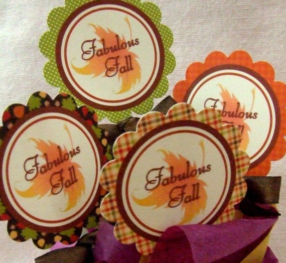 INSTANT DOWNLOAD - Printable Autumn - Cupcake Toppers & Favor Tags - Thanksgiving / Fall
