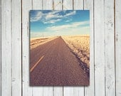 The Journey - Road photograph - 11x14 print - blue sky photo - blue and yellow home decor - country road photo - country road
