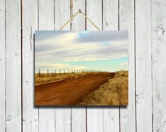 Destination Bright -8x10 -road photo - road decor - country road photo - blue and brown - country road - country decor