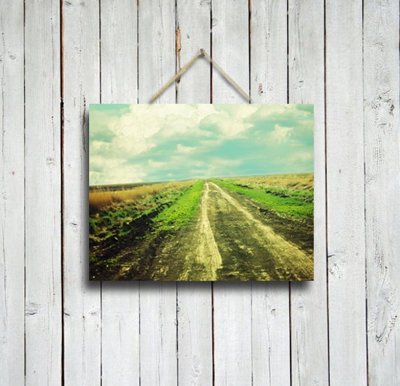 Cloud Road - Road photograph - country road photo - country decor - road decor - new mexico art - green and blue decor - green deco