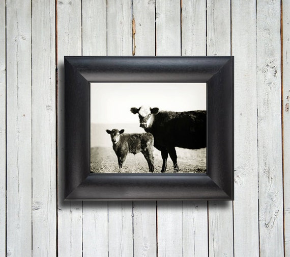 Mamma and Baby - Cow and calf photo - Cow photo - 8x10 black framed item - Cow photography - Country decor - Cow decor - New Mexico decor