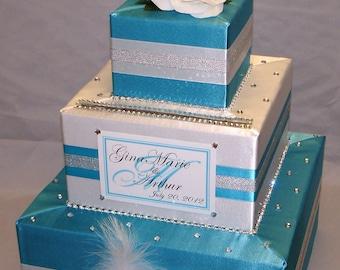 Elegant Custom Made Turquoise-White Wedding Card Box -Rhinestones