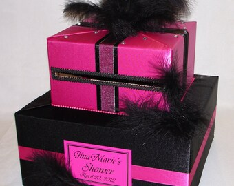 Elegant Custom Made Fuchsia-Black Wedding Card Box-feathers -any color combination