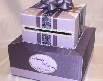 Elegant Custom Made Wedding Card Box-Rhinestone accents