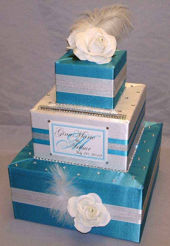 Elegant Custom Made Turquoise White Wedding Card Box
