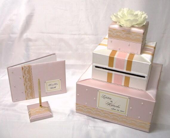 Elegant Custom Made Wedding Card Box/Guest Book-Pen set-Pearl accents