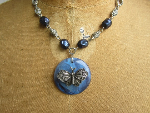 Butterfly Necklace - Silver & Blue - repurposed upcycled assemblage