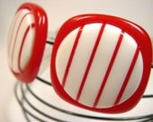 Vintage Lucite Pierced Earrings - Red and White Stripes (146)