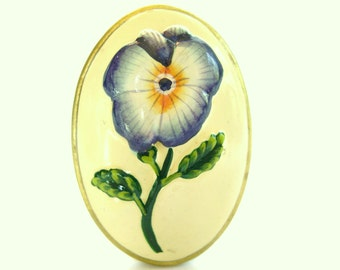 Vintage Brooch Flower Pansy Hand Painted Ceramic Gold 1950's