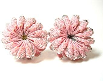 Vintage Screw Back Earrings Pink Ribbon Silver 50's (item 138)