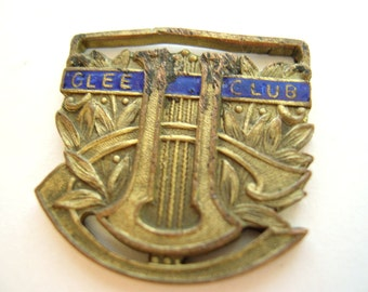 Vintage Enameled Glee Club Medal Brass Copper 40's - 50's (item 3)