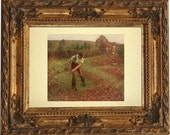 Vintage 1913 Art Print - Mowing Bracken - H.H. La Thangue - One Available - Wall Hanging - FRAME NOT INCLUDED