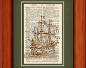 "Dictionary Art Print - Galleon - 6 3/4"" x 9 3/4"" - Art Print on Upcycled Dictionary Page - Frame NOT included"