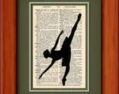 "Dictionary Art Print - Ballerina - 6 3/4"" x 9 3/4"" - Art Print on Upcycled Dictionary Page - Frame NOT included"