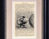 "Art Print - Umbrella Girl 5 - 6 1/2"" x 10"" Encyclopedia Page - Art Print on Upcycled Encyclopedia Page"