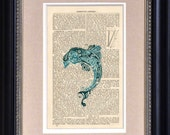 "Art Print - Paisley Dolphin - 6 1/2"" x 10"" Encyclopedia Page - Art Print on Upcycled Encyclopedia Page - FRAME NOT INCLUDED"