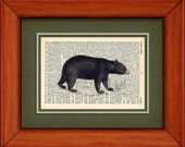 "Dictionary Art Print - Black Bear - 6 3/4"" x 9 3/4"" - Art Print on Upcycled Dictionary Page - FRAME NOT INCLUDED"