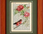 "Dictionary Art Print - Roses And Love Birds Art Print - 6 3/4"" x 9 3/4"" Dictionary - Art Print on Upcycled Page - FRAME NOT INCLUDED"