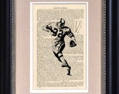 "Art Print - Football Player 32 - 6 1/2"" x 10"" Encyclopedia Page - Art Print on Upcycled Encyclopedia Page"