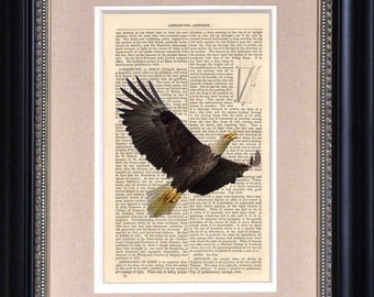 """Art Print - Eagle In Flight - 6 1/2"""" x 10"""" Encyclopedia Page - Art Print on Upcycled Encyclopedia Page - FRAME NOT INCLUDED"""