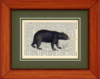 """Dictionary Art Print - Black Bear - 6 3/4"""" x 9 3/4"""" - Art Print on Upcycled Dictionary Page - FRAME NOT INCLUDED"""