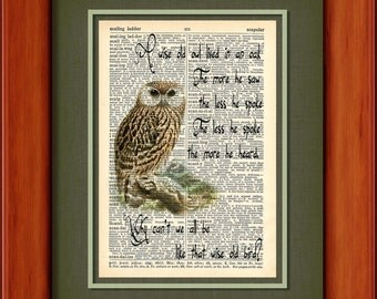 """Dictionary Art Print - A Wise Old Owl - 6 3/4"""" x 9 3/4"""" - Art Print on Upcycled Dictionary Page - FRAME NOT INCLUDED"""