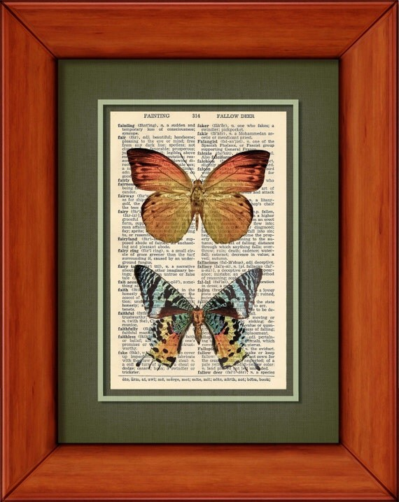 "Dictionary Print - Orange Butterfly And Rainbow Tailed Moth - 6 3/4"" x 9 3/4"" Vintage Dictionary Art Print"