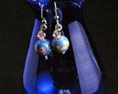Blue Hand Beaded Floral Earrings