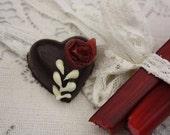Dark Chocolate Rhubarb Hearts - small box