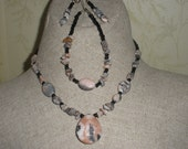 Natural Pink and Grey Rhodolite  3pc. Jewelry Set