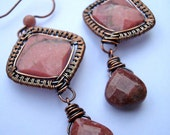 Samarkand woven copper and dusky pink rhodonite earrings