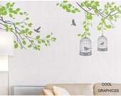 Branches with birds cage -vinyl wall decals trees wall sticker,girl baby nursery bedroom children wall decor,art home decor wall hanging