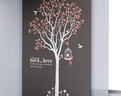 Large Spring Tree -Vinyl wall decals trees  children wall decals birds birdcage white pink wall decals wall sticker wall decor home decor