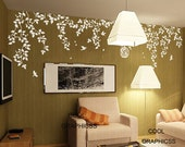Spring Branches and Bird Cage( one color ) -Vinyl Wall Decal Sticker Art,Wall Hanging, Mural