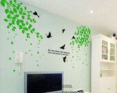 Wall Decals Two Branches with Flying Birds - birdcage wall decal trees wall decals child nursery  wall sticker wall decor home decor