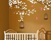 Branches with birds cage -Vinyl Wall Decal Sticker Art