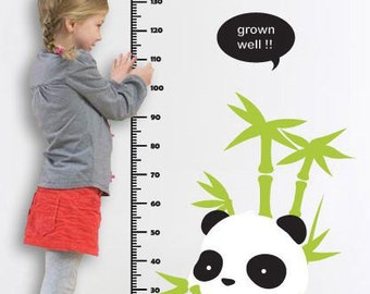 Baby Panda in the Bamboo Grove and Kids Growth Chart -Vinyl Wall Decal Sticker Art