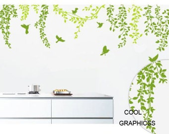 Spring Branches and Flying Birds -Vinyl Wall Decal Sticker Art,Wall Hanging, Mural