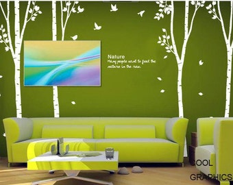 Four Birch Trees set  - 103 inches - Vinyl Wall Decal Sticker Art, Mural,Wall Hanging