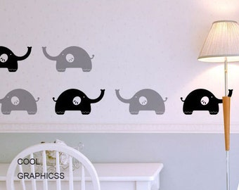 vinyl  wall decal elephants wall decal nursery wall decals girl baby kids bedroom wall decor wall sticker- Lovely Elephants
