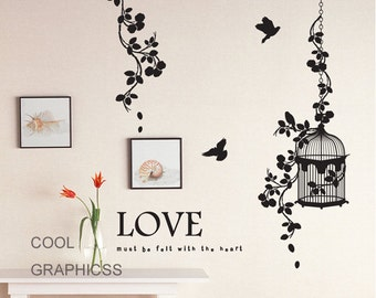 Beautiful Branches and birds cage  -Vinyl Wall Decal Sticker Art