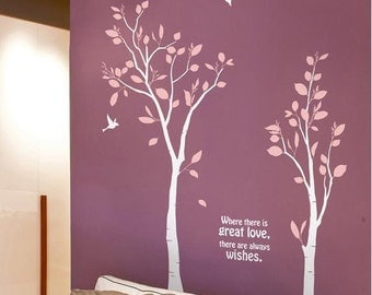 Two Love Trees - Style 2  - Vinyl Wall Decal Sticker Art, Mural,Wall Hanging