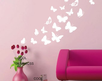 Beautiful butterflies decal set -Vinyl Wall Decal Sticker Art