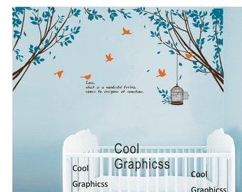 Branch Corner with Flying Birds and Quote -Vinyl Wall Decal Sticker Art