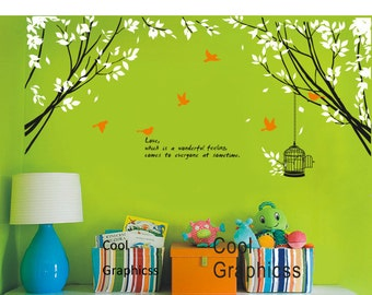 Two Branch Corner with Flying Birds and Quote -Vinyl Wall Decal Sticker Art