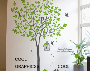 Green tree with birds and cage -vinyl wall decals tree wall sticker, bedroom wall decor, home decor wall hanging , white brown  grey branch